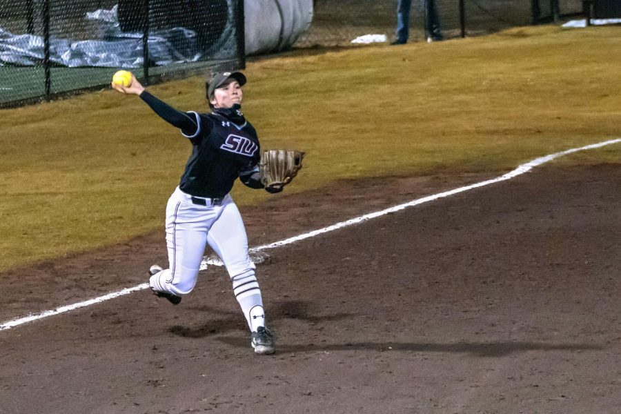 Sidney Sikes (2) throws the ball to first base in a game against Austin Peay State University Friday, Feb. 26, 2021 at SIU. The Salukis won the game 4-1.
