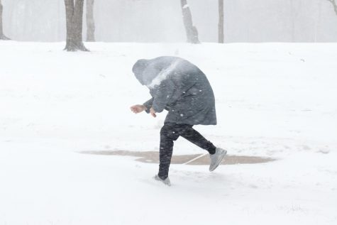 Two SIU students, Marc Avery and Austin Kinsler, have a snowball fight Monday, Feb. 15, 2021, in Carbondale, Ill.