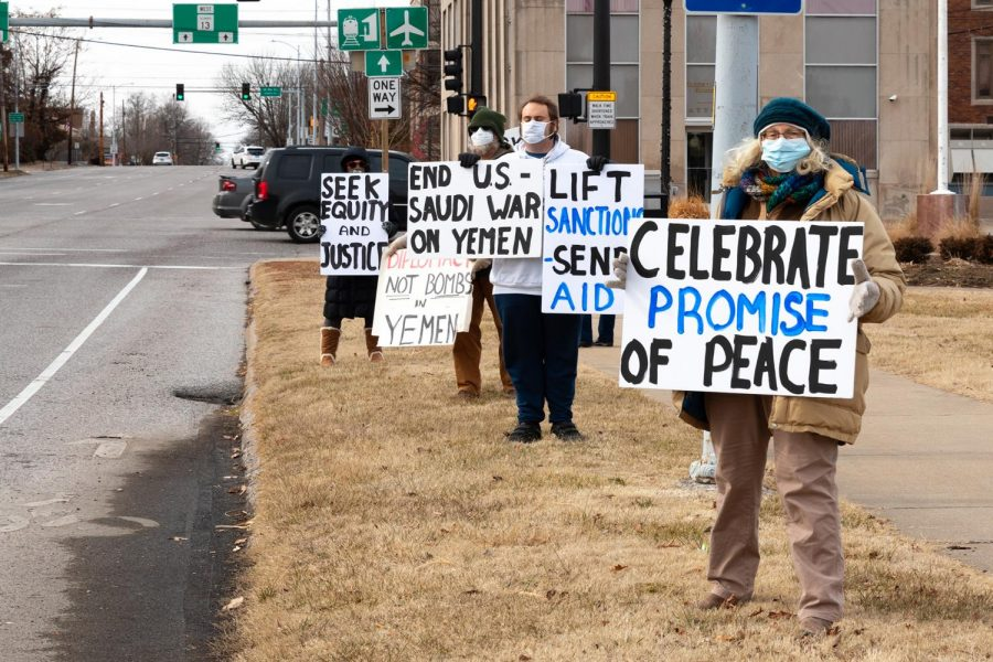 Protestors stand on the corner of Main St. and Illinois Ave., in Carbondale, Ill. on Saturday, Feb. 6, 2021, during a protest on the U.S. involvement in the war on Yemen. Due to Biden's announcement to end the U.S. support of the Saudi war in Yemen on Feb. 4, the Peace Coalition decided to dedicate their vigil this month to supporting the end of the war in Yemen.