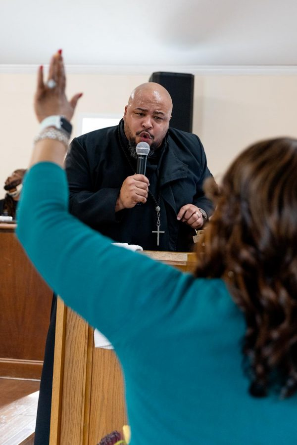 Zion Temple COGIC church's senior pastor, Stephen Robinson Jr., preaches in the church Sunday, Feb. 8, 2021, in Murphysboro, Ill. He was installed  as senior pastor in 2014.
