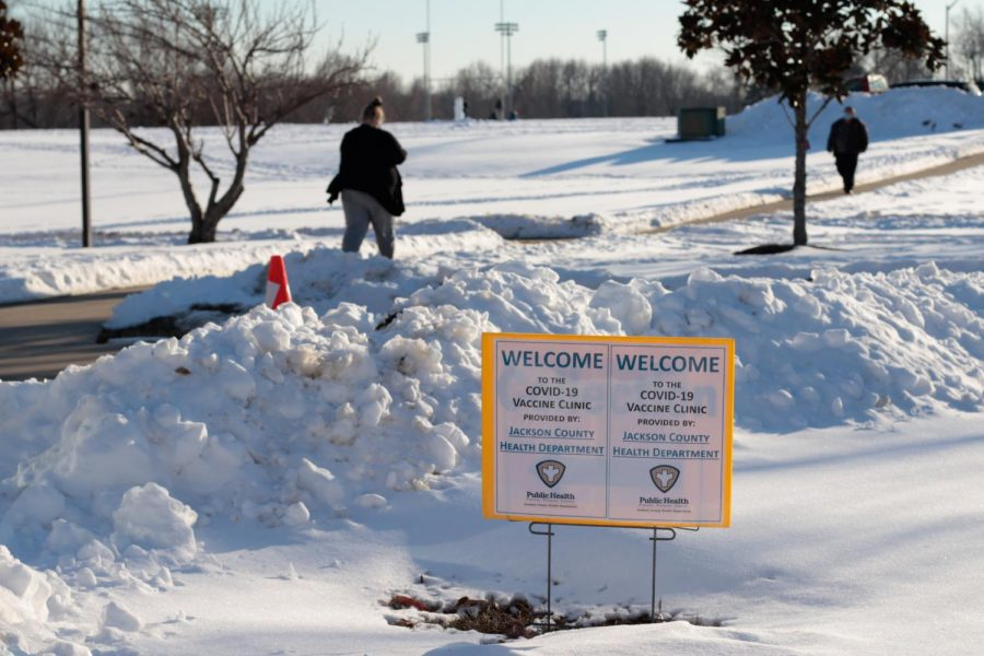 Signs welcome the community to the COVID-19 vaccination clinic Feb. 20, 2021 at the Banterra Center in Carbondale Ill.