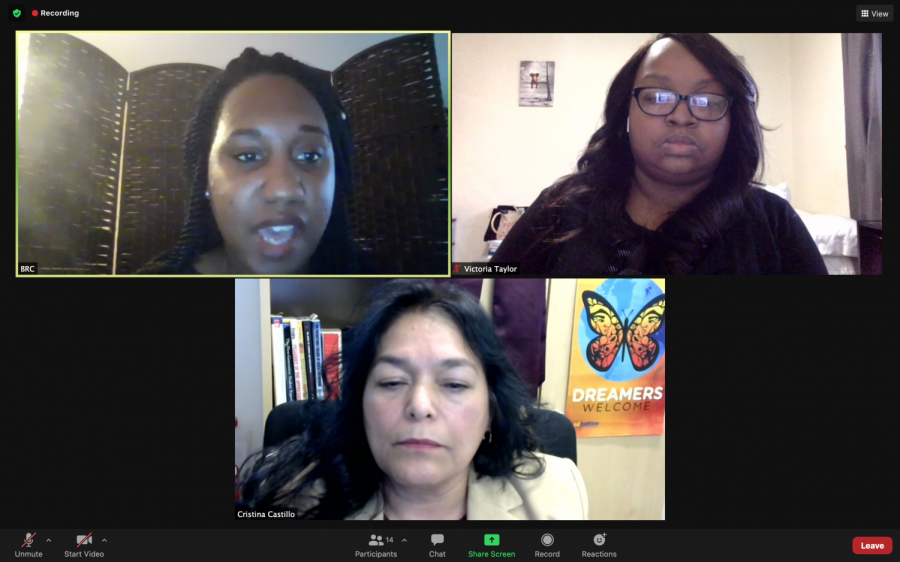 Charah Mckinzie, top left, the Black Resource Center Coordinator talks about the importance of self-advocacy for Black students at SIU during the Cultivating Self-Advocacy: How to Effectively Communicate your needs as a Black College student event on Thursday, Feb. 25, 2021 via Zoom.