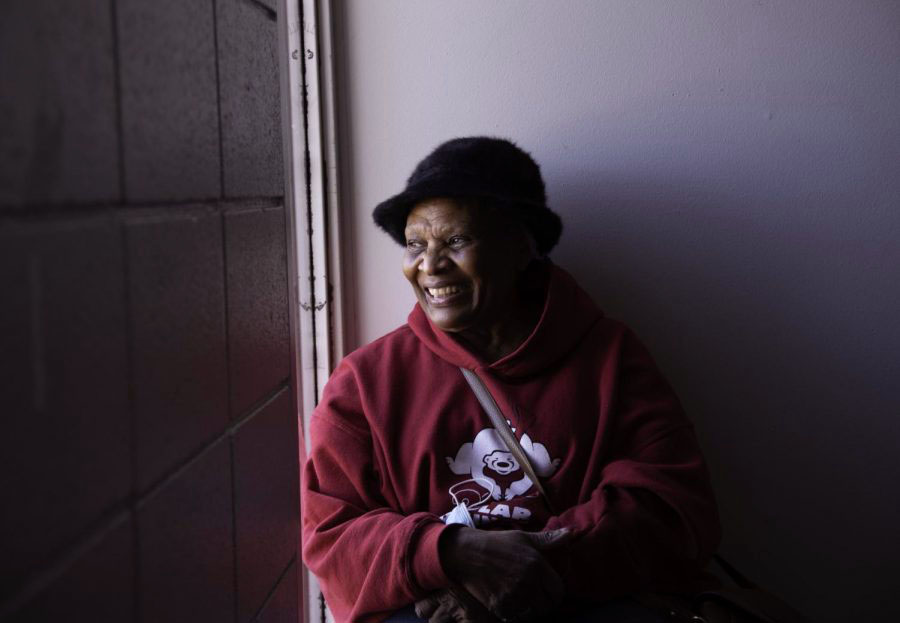 "Volunteer Janet Lilly, 75, sits for a portrait Tuesday, February 2 at the Eurma Hayes Center in Carbondale, Illinois. Lilly said the substation will be a good addition to the Eurma Hayes Center. ""People like to feel secure and when you feel secure you'll come. When you feel insecure by whatever it is causing that fear you're not going to come in fear of but I feel the substation will provide some sort of security,"" she said."