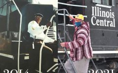 """Retired railroad fireman and engineer, Milton McDaniel, began his 50 year long career in 1967 and became the first African American fireman and engineer north of the Ohio River. According to McDaniel, the photo on the left was taken prior to retiring in 2014. """"It was a struggle, but I wanted to let other people know, other young men, know no matter what they wanted to do in life, don't let nothing turn you around,"""" said McDaniel."""