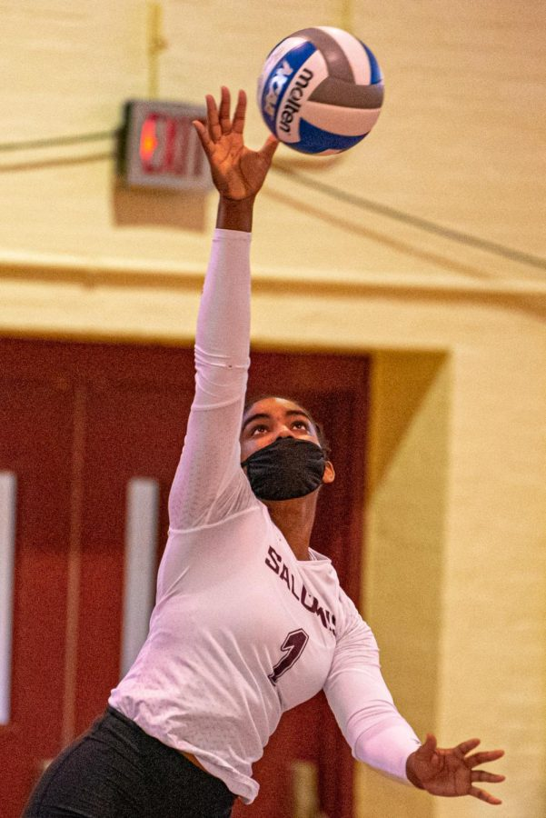 Nsia Gittens watches as she serves the ball during the game verse Indiana State on Sunday, March 7, 2021 in Davies Gym at SIU. The Salukis' would go on to lose 3-0 to the Sycamores.