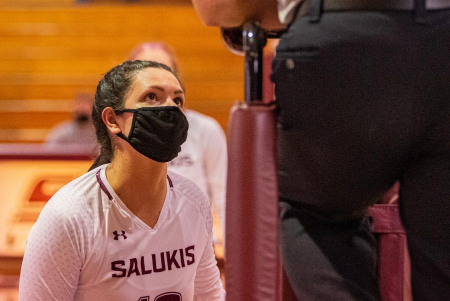 SIU senior setter/hitter Rachel Maguire talks with a referee during the game verse Indiana State on Sunday, March 7, 2021 in Davies Gym at SIU. The Salukis' would go on to lose 3-0 to the Sycamores.