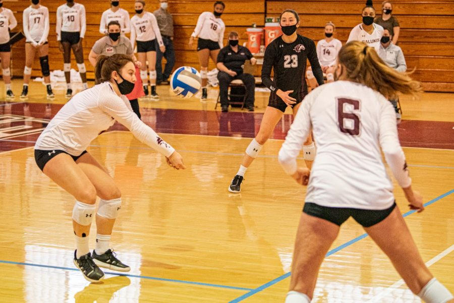 Mackenzie Houser bumps the ball to set-up the Salukis' offense during the game verse Indiana State on Sunday, March 7, 2021 in Davies Gym at SIU. The Salukis' would go on to lose 3-0 to the Sycamores.