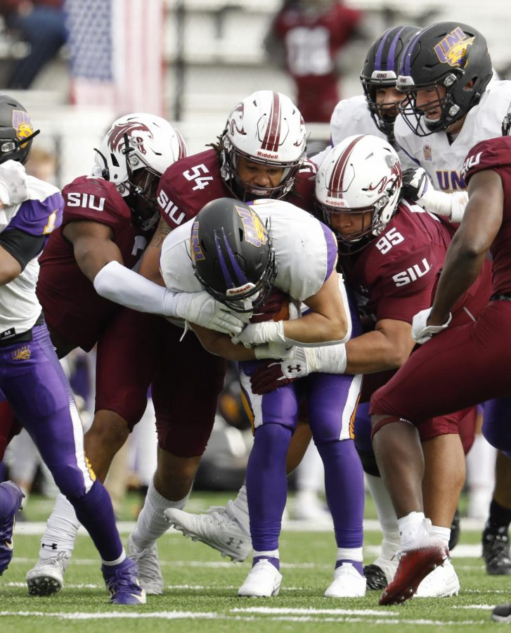 SIU's defense smothers the Panthers' running game during Saturday's home game win by the score of 17-16, Saturday, March 13, 2021.