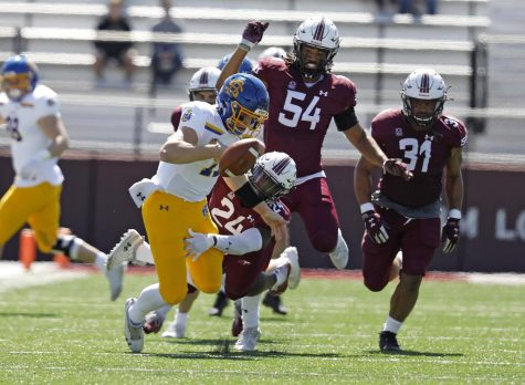 Saluki safety, Qua Brown, 24, forces the Jackrabbits