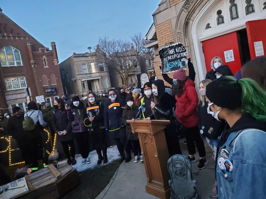 Yesenia Chavez gives a speech in spanish in front of Grace United Methodist Church in Chicago, Ill. on March 4, 2021. Chavez, an Olive-Harvey College student, joined the hunger strike against Reserve Management Group's relocation of the General Iron scrap facility to the neighborhood of South Deering on February 8.