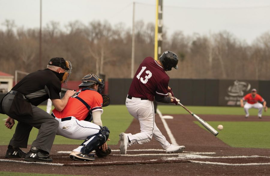 J.T. Weber (13) swings the bat towards the left field during the Salukis home game against the University of Tennessee at Martin on Saturday, Mar. 6, 2021 at Itchy Jones Stadium in Carbondale, Ill.