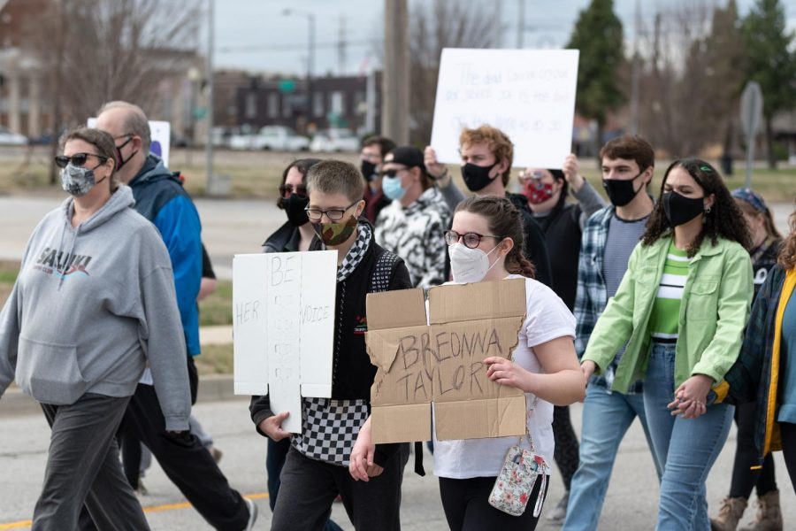 Protestors march on the one-year anniversary of Breonna Taylor's death on Saturday, March 13, 2021 at Carbondale Pavilion, Carbondale Ill.