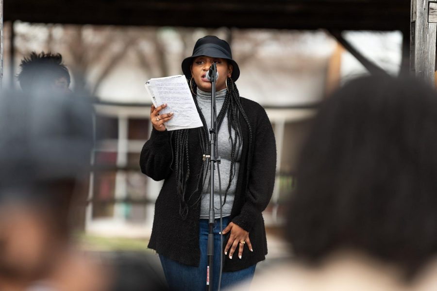 A speaker talks against racial violence on the one-year anniversary of Breonna Taylor's death on Saturday, March 13, 2021 in Carbondale, Ill. Speakers spoke about violent racial crimes and discrimination that Black people face today.