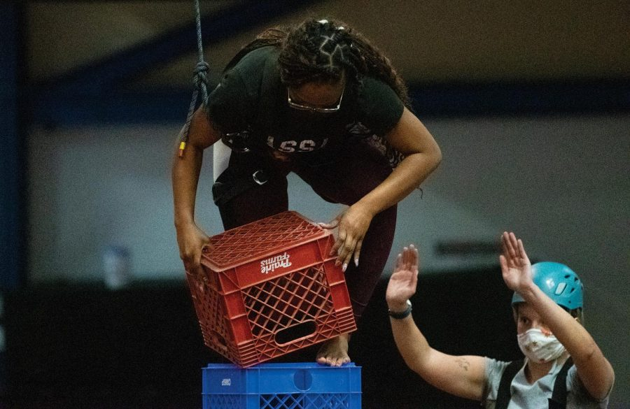 Lanese Farr stacks her crate and holds her balance on Tuesday March. 16, 2021, at Recreational Center, Carbondale Ill.