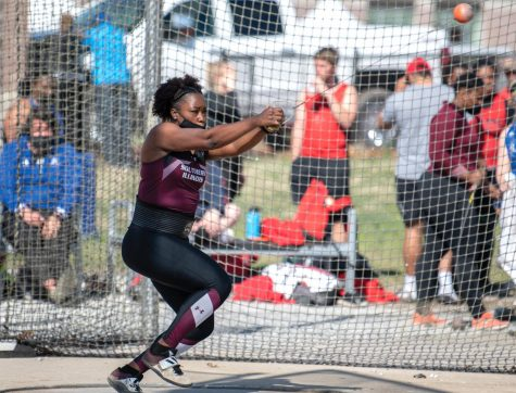 Matisen Ingle winds up during hammer throw on Saturday, March 20, 2021, at the SIU Lew Hartzog Track and Field Complex in Carbondale, Ill.