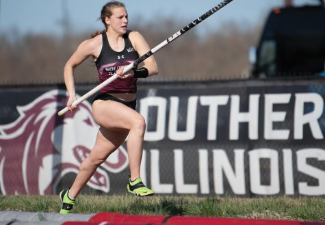 Erin Diemer focuses for her last jump during pole vault on Saturday, March 20, 2021, at the SIU Lew Hartzog Track and Field Complex in Carbondale, Ill.