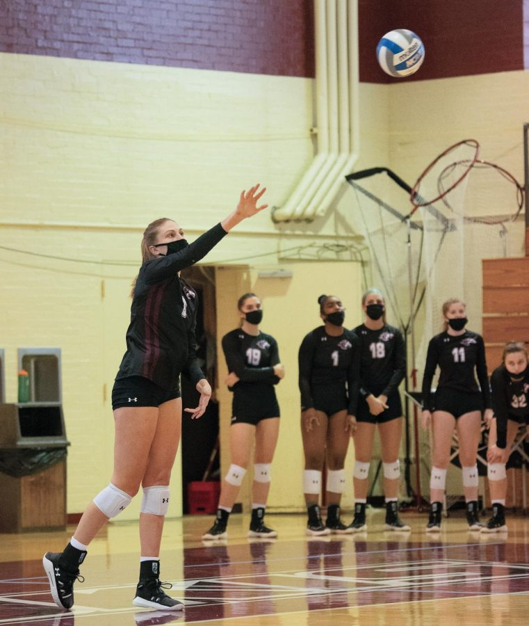 Emma Baalman (6), opposite hitter for SIU Women's volleyball, serves the ball in the second set of the game against the Illinois State University Redbirds on Sunday March 28, 2021 in Carbondale Ill.