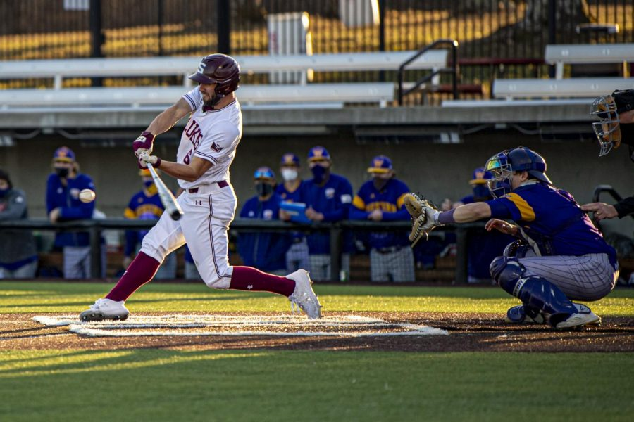 SIU's Tristian Peters hits an RBI single to keep the bats hot during the Salukis 9-1 win over Western Illinois on Tuesday, Mar. 2, 2021 at Itchy Jones Stadium in Carbondale, Ill.