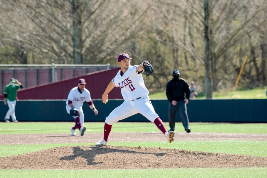 Ben Chapman (11) pitches the first inning during the Saluki home game against Marshall University at Itchy Jones Stadium on March 20, 2021 in Carbondale, Ill.