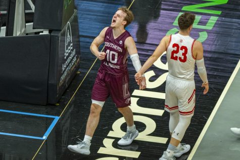 SIU guard Ben Harvey gets hyped after a foul was called on against Bradley during the Salukis