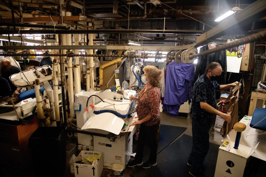 Employees work on customers' clothes on Tuesday, Mar. 2, 2021 at Horstman's Cleaners & Furriers in Carbondale Ill.