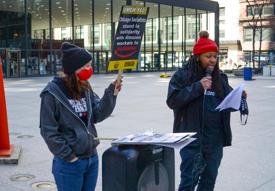 """Ryan Watson, a member of Socialist Alternative and Democratic Socialists of America, gives a speech during a Day of Solidarity at Federal Plaza in Chicago, Ill. on March 20, 2021. """"A massive change is happening at Bessemer, [Ala.] Working people are seeing through the corporate strategies to placate BLM and other social movements,"""" Watson said."""