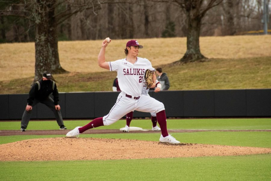SIU pitcher, Mike Hansell, pitches the fourth inning during the Salukis home game against Tennessee Martin on Friday Mar. 5 2021 at Itchy Jones Stadium in Carbondale, Ill.