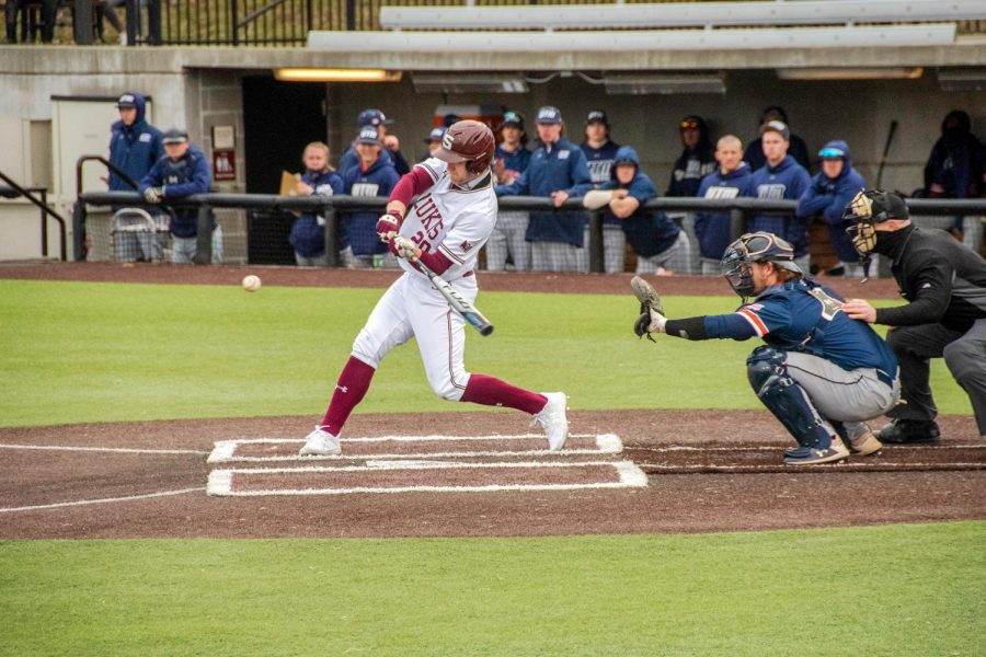 Ian Walters hits the ball during their home game against Tennessee Martin on Friday March 5, 2021 at Itchy Jones Stadium in Carbondale, Ill.