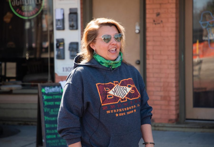 """Rachel Fager, a Murphysboro local and member of St. Patrician community, feels excited to be back to the St. Patrick's Day Celebration on Saturday March 20, 2021, on Chestnut Street in Murphysboro Ill. Last year, a lot of events were cancelled due to COVID-19 and due to rain. """"It started 6 years ago, and we were at peak in 2019. Last year it didn't go as expected but this year is a little bit closer to normal and hopefully we will come back stronger,"""" Fager said. Subash Kharel 