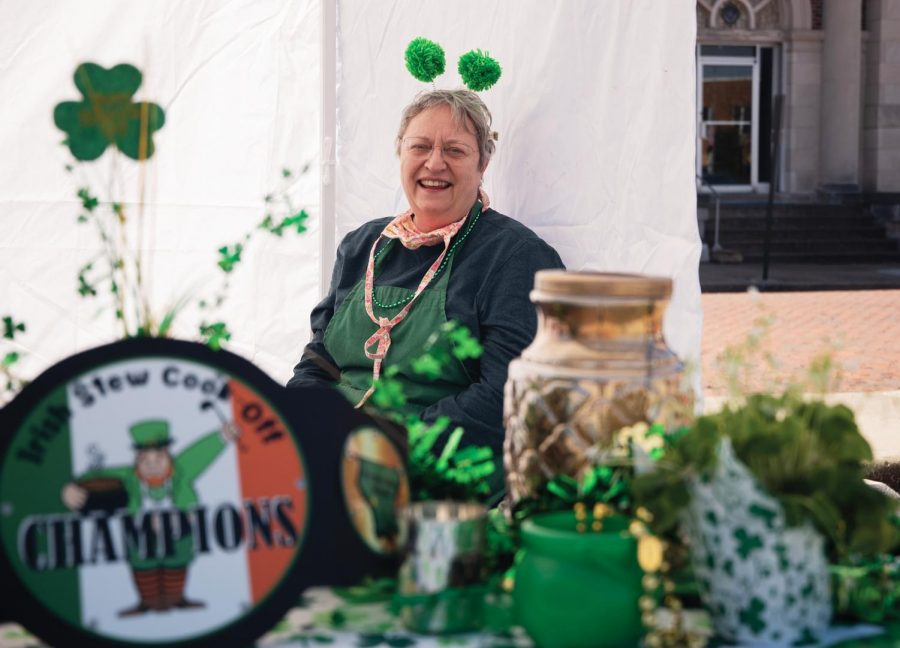 """Lisa Miluer, a Murphysboro resident and winner of the Irish Stew Competition in 2020, waits for the customer as she finishes preparing her stew for the Irish Stew Cook-Off on Saturday March 20, 2021, in Murphysboro Ill. """"After competing for two continuous years, I won last year. I am doing this again this year,"""" Mileur said. """"I just enjoy doing this so much so here I am."""