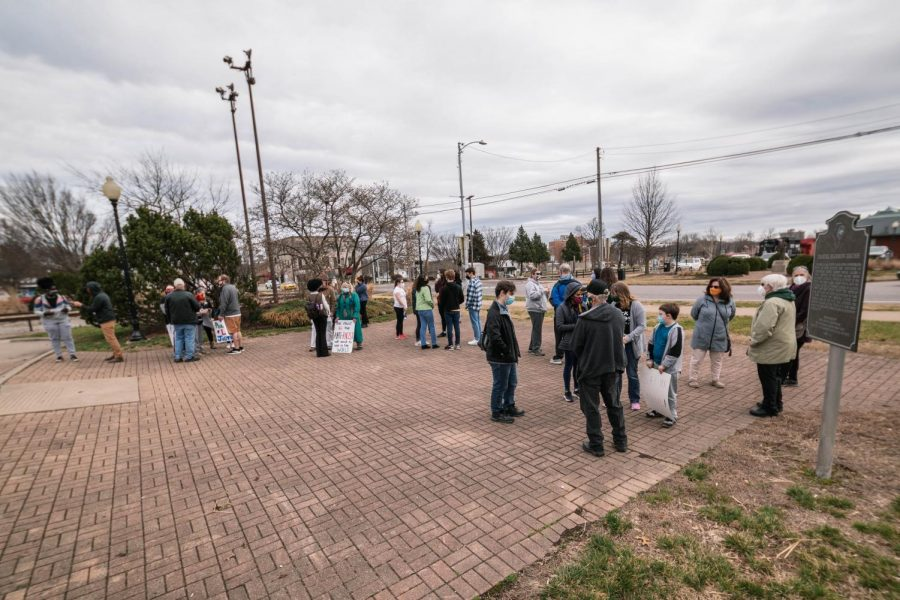 People gather before the protest march through Carbondale, I'll. on the one year anniversary of Breonna Taylor's death Saturday, March 13, 2021.