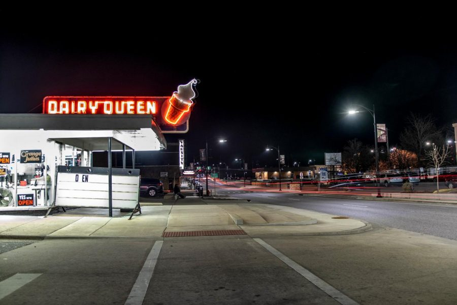 Dairy Queen's neon sign lights up along U.S. Route 51 Saturday, March 13, 2021 in Carbondale Ill.