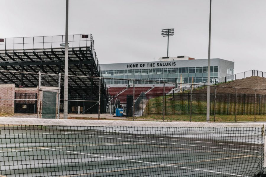 Saluki Stadium Thursday, March 18, 2021. SIU plans to hold the 2021 Spring commencement ceremony at Saluki Stadium, in-person, from May 7 to May 9. In case of light rain showers, commencement will proceed and graduates will be given clear ponchos to wear over their regalia. Masks and social distancing will be required by all graduates and guests.