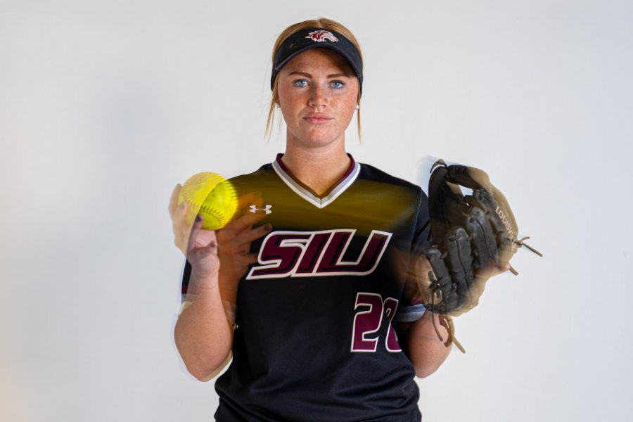 SIU infielder/outfielder Jenny Jansen poses for a photo on Thursday, March 4, 2021 at SIU. Jansen has proven to be a constant bat for the SIU softball team. Jansen was a key piece to the win this year over #22 Mississippi State on Feb. 21, where she produced three hits, including a homerun, with 3 RBIs.