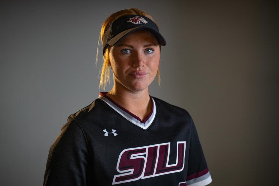 SIU infielder/outfielder Jenny Jansen poses for a photo on Thursday, March 4, 2021 at SIU. Jansen has