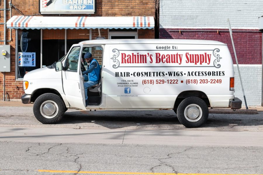 Rahim Khalil gets out of his truck that he started his business in Mar. 1, 2021, at Rahim's Beauty Supply in Carbondale, Ill. Khalil started his business out of his truck in 1995 before moving into his current building on 110 East Oak Street in 2009.