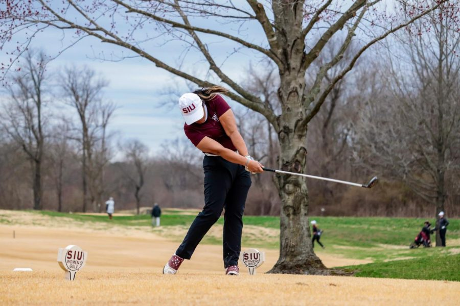 Janie Samattiyadeekul drives the ball down the fairway during the match against Bradley University March 14, 2021, at Hickory Ridge Golf Course in Carbondale, Ill.