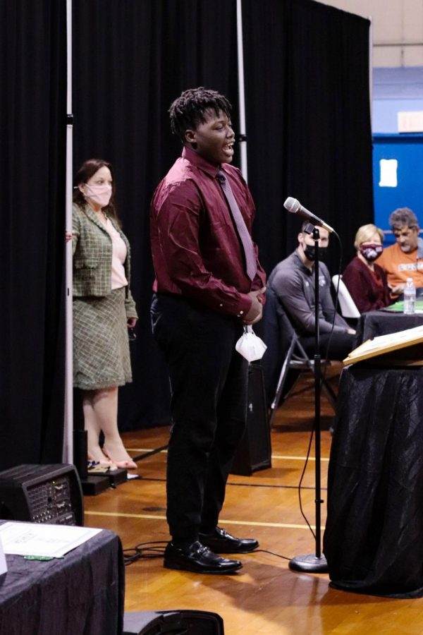 "Abrahim Cooper speaks at the Boys & Girls Club Youth of the Year event March 17, 2021, in Carbondale, Ill. ""When I first came to the club, the first thing I noticed was that the staff here are very open and great, very easy to talk to, very easy to just, like, talk about anything and they'll approach for anything,"" Cooper said. He said if they are feeling upset, the staff is quick to help the students out."