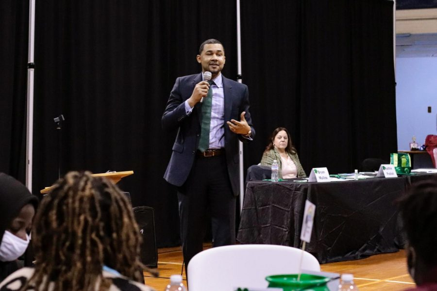 Superintendent at the Carbondale Community High School, Daniel Booth, guest speaks at the Boys & Girls Club Youth of the Year event March 17, 2021, in Carbondale, Ill. He said the best thing the students can do to work on their success is to work on their happiness, to persevere through their hard times and to stay optimistic in every situation.