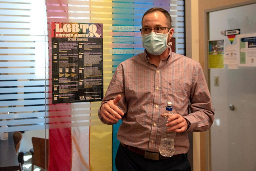 """Vern Cooper, coordinator of SIU's LGBTQ Resource Center, discusses some of the challenges LGBTQ students come to him and talk about facing on March 29, 2021. """"Most of the students' challenges are finding a sense of community right now especially,"""" Cooper said."""