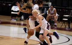 Caitlin Link (5) dribbles the ball against the Northern Iowa Panthers on Friday, Mar. 5, 2021 at the SIU Banterra Center in Carbondale Ill.