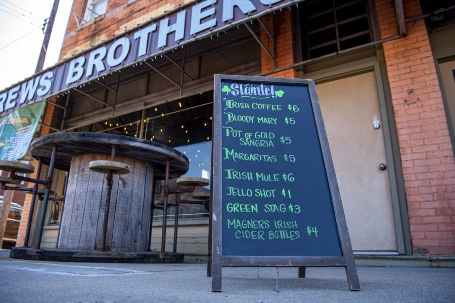 A list of Irish themed drinks served at Brews Brothers Taproom on Saturday, March 20, 2021 in Murphysboro, Ill.