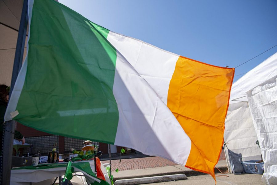 An Irish flag flies in the wind during the Murphysboro St. Patrick