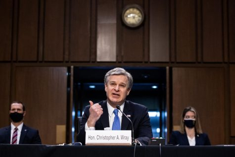 Federal Bureau of Investigation Director Christopher Wray testifies on Capitol Hill, in Washington, before a Senate Judiciary Committee on the the January 6th Insurrection, domestic terrorism and other threats,Tuesday, March 2, 2021. (Graeme Jennings/Pool/Abaca Press/TNS)