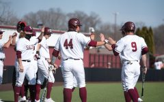 Philip Archer (44) and Nick Neville (9) celebrate after making four runs against University of Tennessee at Martin on Sunday, Mar. 7, 2021 at Itchy Jones Stadium in Carbondale Ill.
