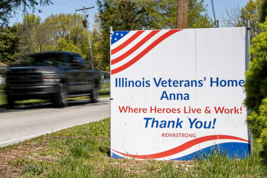 A sign sits outside the Anna Veterans' Home on North Main street on Sunday, April 25, 2021 in Anna, Ill. The 50-bed nursing care facility for eligible veterans is one of six veteran nursing care facilities located in Illinois that are ran by the Illinois Department of Veterans' Affairs.