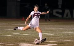Kathryn Creedon (17), defender for Salukis Women Soccer Team, kicks the ball in the game against Illinois State University on Saturday, April 3, 2021 at Lew Hartzog Track and Field Complex in Carbondale, Ill.