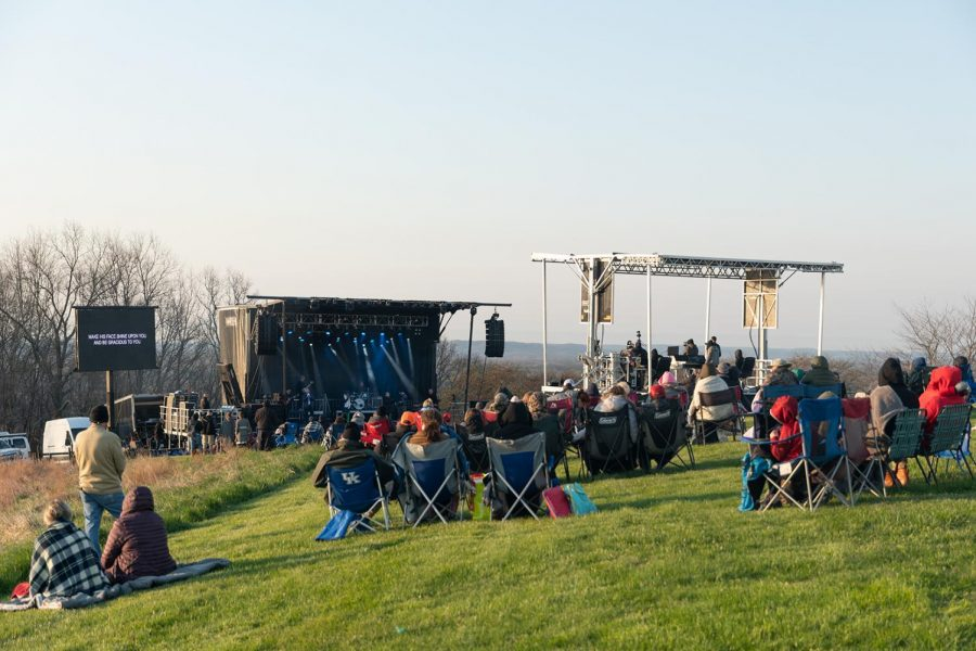 People attend the sunrise service and enjoy the worship music on Easter at Bald Knob Cross on Sunday, April 4, 2021 in Alto Pass, Ill. The program started at 6.30 a.m. and ended at 8 a.m.