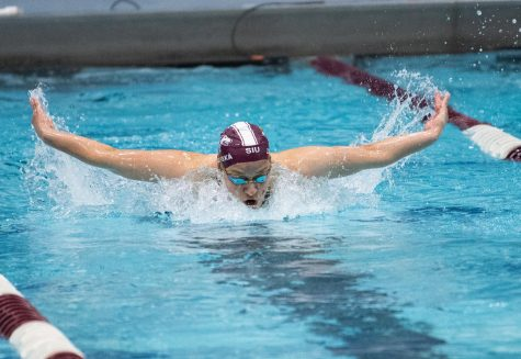 Mima Zaborska wins the 200-meter breaststroke against the Missouri Conference Championship at Shea Natatorium on April 15, 2021 in Carbondale, Ill.