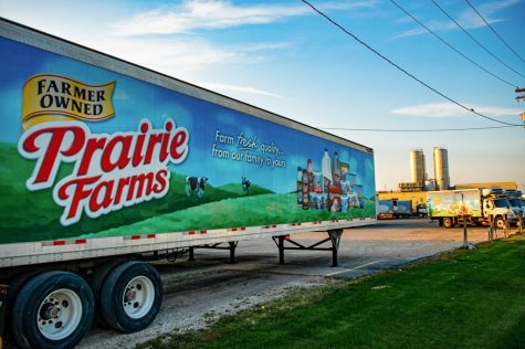 Prairie Farm trailer at a Prairie Farms dairy farm on Sunday, April 4, 2021 in Carlinville, Ill. The USDA recently ended their Food Box program that helps farmers get food to families in need during the COVID-19 pandemic.